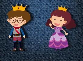 kleine Prinz und Prinzessin Zeichentrickfigur auf blauem Hintergrund vektor