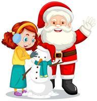 Weihnachtsmann mit Mädchen, das eine Schneemann-Zeichentrickfigur schafft