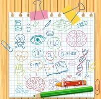 uppsättning medicinsk vetenskap element doodle på papper vektor