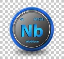 chemisches Niobelement. chemisches Symbol mit Ordnungszahl und Atommasse. vektor