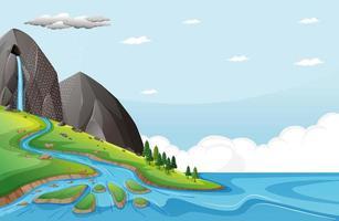 Naturszene mit Wasser fällt von Steinklippe vektor