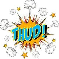 word thud på komisk moln explosion bakgrund vektor
