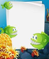 leeres Papierbanner mit exotischen Fisch- und Unterwasser-Naturelementen auf dem Unterwasserhintergrund vektor