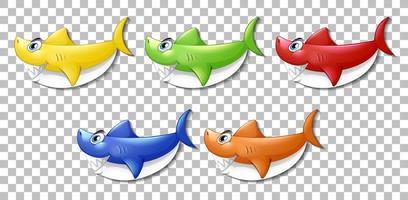 Satz von vielen lächelnden niedlichen Hai-Zeichentrickfiguren vektor