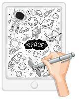 Handzeichnung Raumelement im Gekritzel- oder Skizzenstil auf Tablette