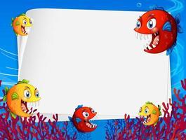 leere Papierschablone mit Karikatur der exotischen Fische in der Unterwasserszene vektor