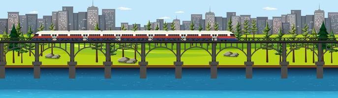 stadens naturpark med tåg på horisontlandskapsscen vektor