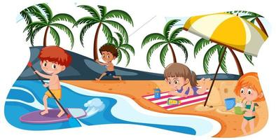 glada barn på stranden vektor