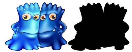 blaue Monster mit seiner Silhouette auf weißem Hintergrund vektor