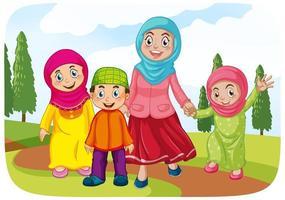 muslimsk mamma med sina barn vektor