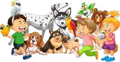 grupp barn med sina hundar på vit bakgrund