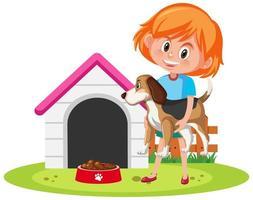 süßes Mädchen, das Hund mit Hundehütte hält vektor