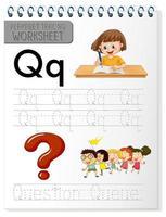 alfabetet spårning kalkylblad med bokstaven q och q