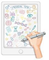 hand Rita medicinsk vetenskap element doodle på tablett vektor