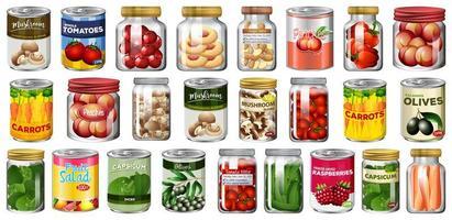 Satz von verschiedenen Konserven und Lebensmitteln in Gläsern isoliert vektor