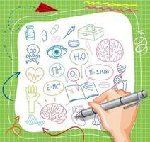 handritning medicinsk vetenskap element doodle på papper vektor