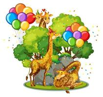 många giraffer i festtema i naturen skog bakgrund isolerad vektor