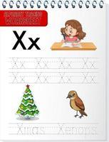 Arbeitsblatt zur Alphabetverfolgung mit den Buchstaben x und x vektor