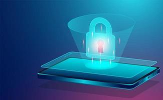 begreppsbanner för datasäkerhet med smartphone vektor