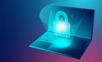 datasäkerhetskoncept datasäkerhetskonceptbanner med bärbar dator vektor