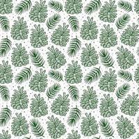 Kegel mit Fichtenzweig Kiefernelement nahtlose Musterhintergrundbeschaffenheit. Weihnachtswald Pflanze. vektor