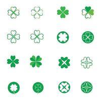 grön klöver ikonuppsättning vektor