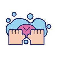 Hände waschen mit Seife Bar Kawaii Linie Stil