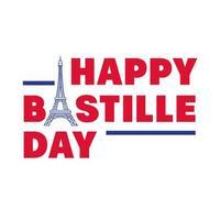 Bastille Day Schriftzug mit Eiffelturm Hand zeichnen Stil