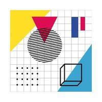 abstraktes Plakat mit geometrischen Farben und Figuren vektor