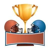 amerikansk fotboll sport hjälmar med trofé cup vektor