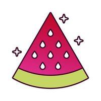 detaillierte Stilikone der frischen Frucht der Wassermelone