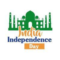 Indien självständighetsdagen firande med Taj Mahals moské platt stil vektor