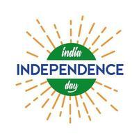 Indien Unabhängigkeitstag Feier mit Sunburst Flat Style vektor