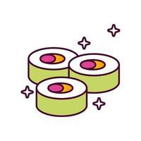 utsökt sushi hälsosam mat detaljerad stilikon