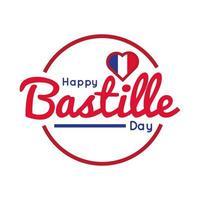 Bastille Day Schriftzug mit Herz Hand zeichnen Stil