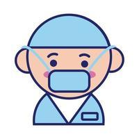 Arzt trägt medizinische Maske kawaii Linie Stil