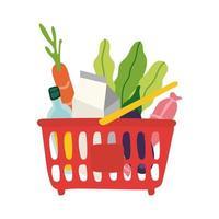 Lebensmittel im Freiformstil des Plastikkorbs vektor