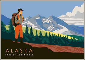 Vintage vykort från Alaska vektor