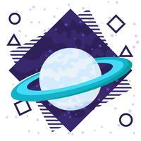 Saturn-Planeten-flacher Hintergrund vektor