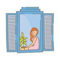 Frau sitzt im Wohnungsfenster für Quarantäne Freiform Stil vektor