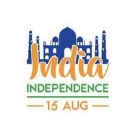 Indien självständighetsdagen firande med Taj Mahals moské platt stil