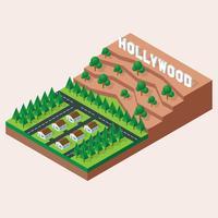 Isometrische Hollywoodland-Zeichen-Illustration