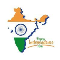 Indien självständighetsdagen firande med karta platt stil vektor