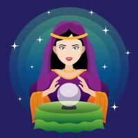 Fortune Teller Med Crystal Ball Illustration. vektor