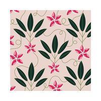 rosa blommor växter tropisk mönster bakgrund vektor