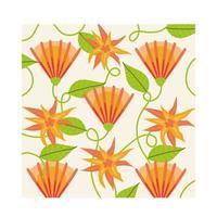 orange blommor växter tropisk mönster bakgrund vektor