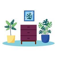 Pflanzen und Möbel Vektor-Design