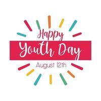 Happy Youth Day Schriftzug mit Burst Flat Style