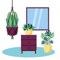 växter och möbler vektor design