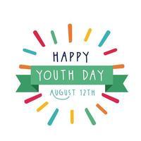 Happy Youth Day Schriftzug mit Bandrahmen flachen Stil